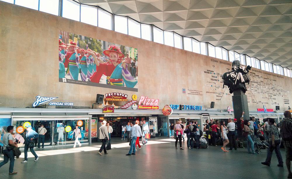 Световые проекции на Московском вокзале